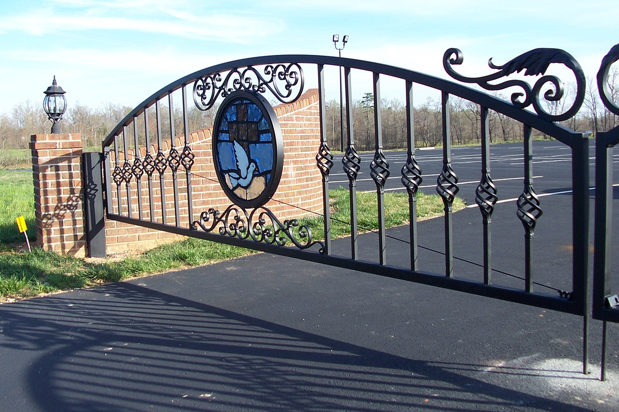 Wrought Iron Gate Gothic Arched Church