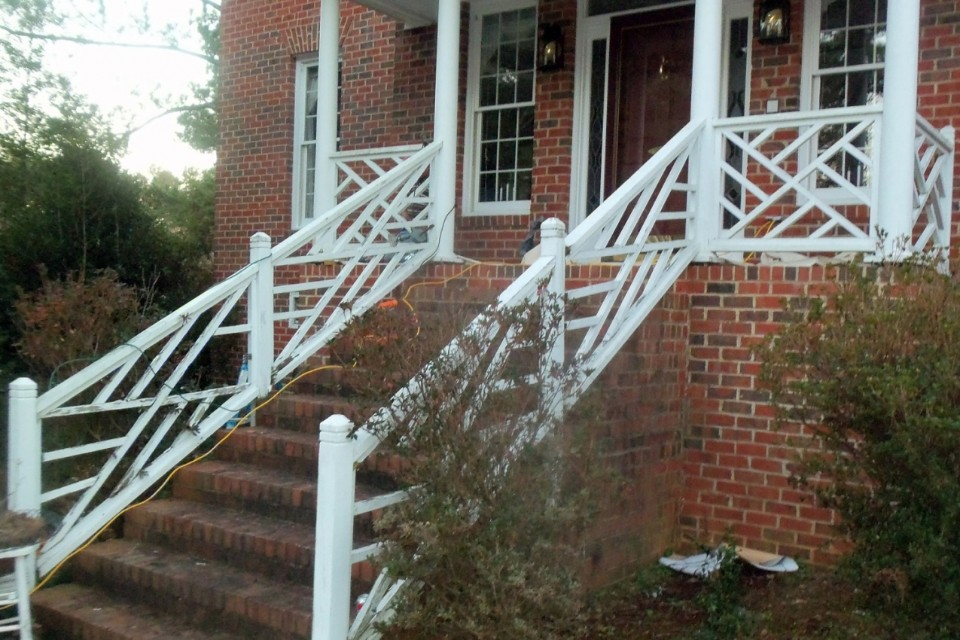 Plastic Iron railings on steps.