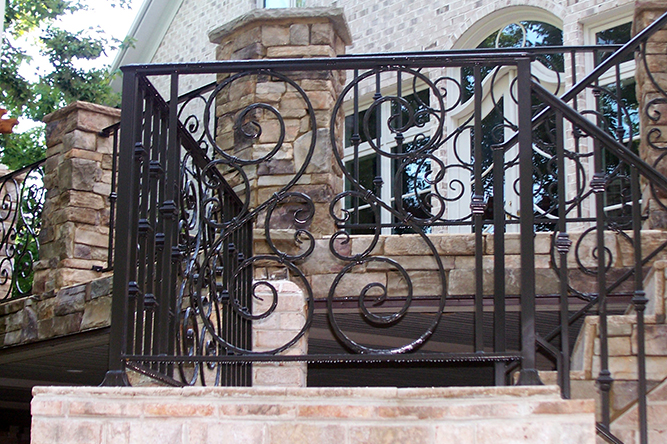 Custom designed wrought iron railings Cary nc